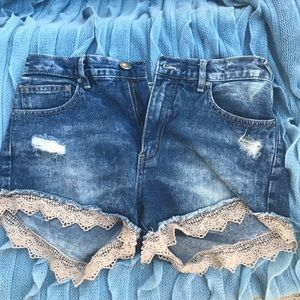 Free People Distressed Jean Shorts with Lace